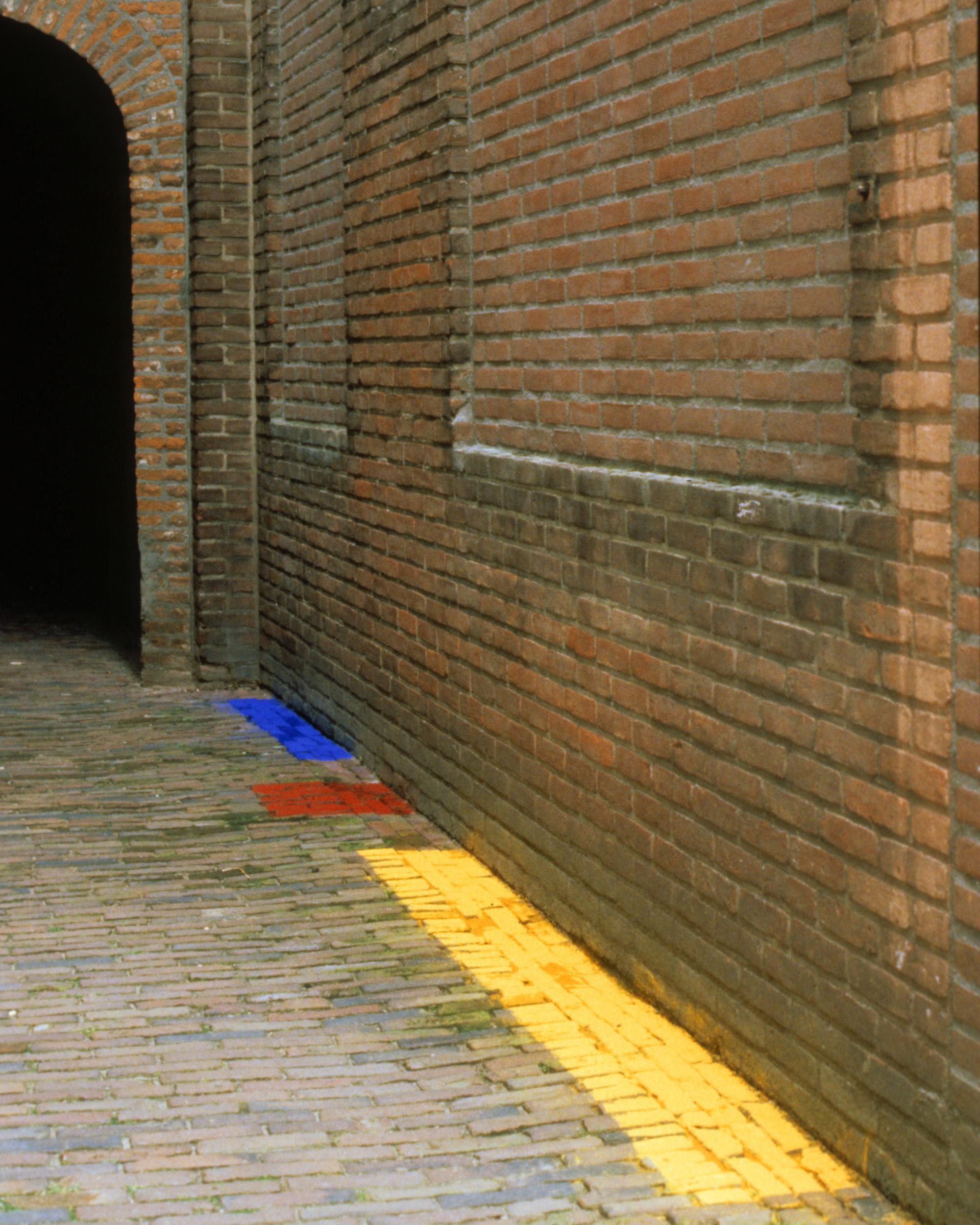Installation, s'Hertogenbosch, NL, 1997  Oxides on brick, dimensions variable