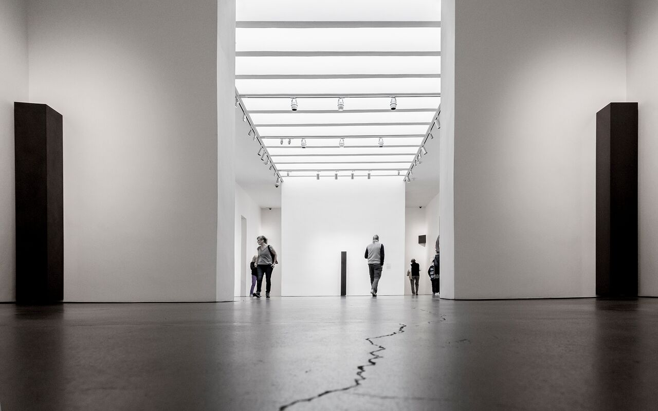 "Corner Columns, 2008  Solid graphite, 6' x 10"" x 10"" x 9.5"" each   Carbon: Susan York (installation view, Georgia O'Keeffe Museum, 2016) Photo: Larry Fodor"
