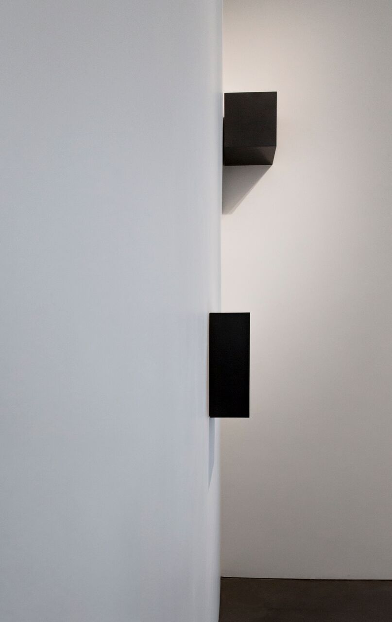 Carbon: Susan York (installation view, Georgia O'Keeffe Museum, 2016) Photo: Larry Fodor   Double Golden Mean: Merged (foreground)   Corner Cube (background)