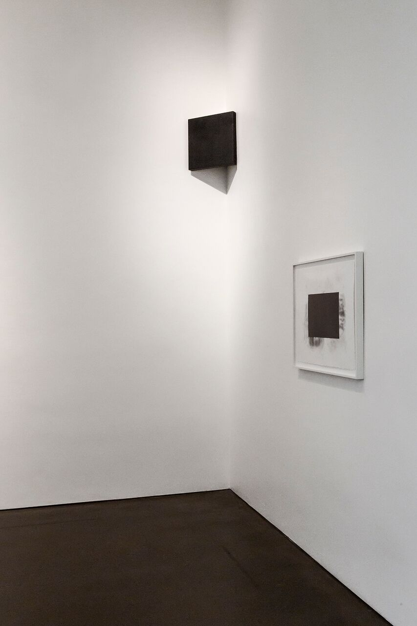 Carbon: Susan York (installation view, Georgia O'Keeffe Museum, 2016) Photo: Larry Fodor   Double Golden Mean: Merged (foreground)   After Malevich (background)