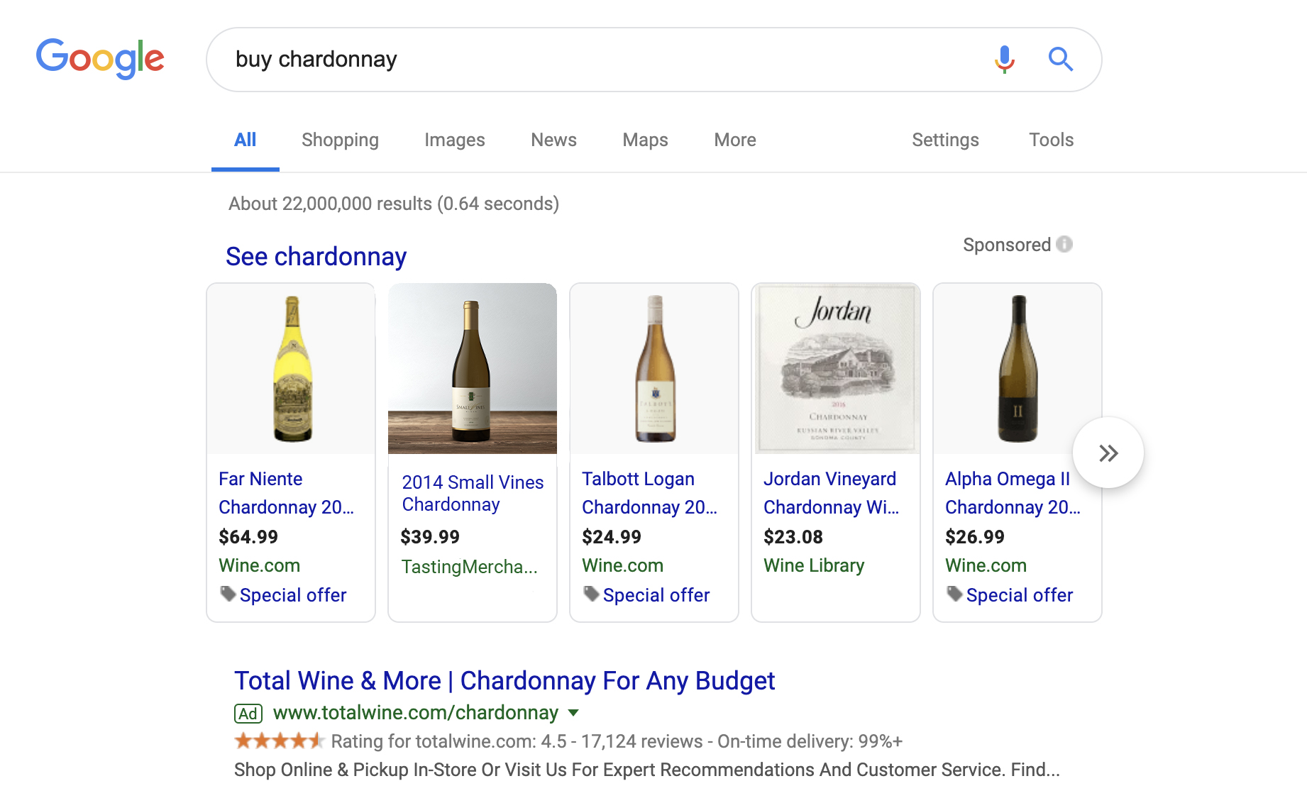 Example of Tasting Merchants Google Shopping Ad (second from left) for Small Vines Chardonnay. The creative features a beautiful lifestyle bottle shot via our friends at  Outshinery .