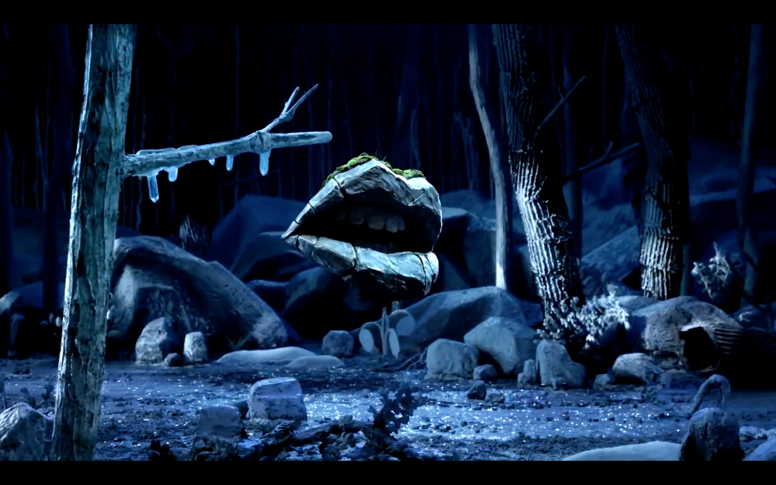 Screen grab of the video. You can see the rocks, foliages and icicles I made.