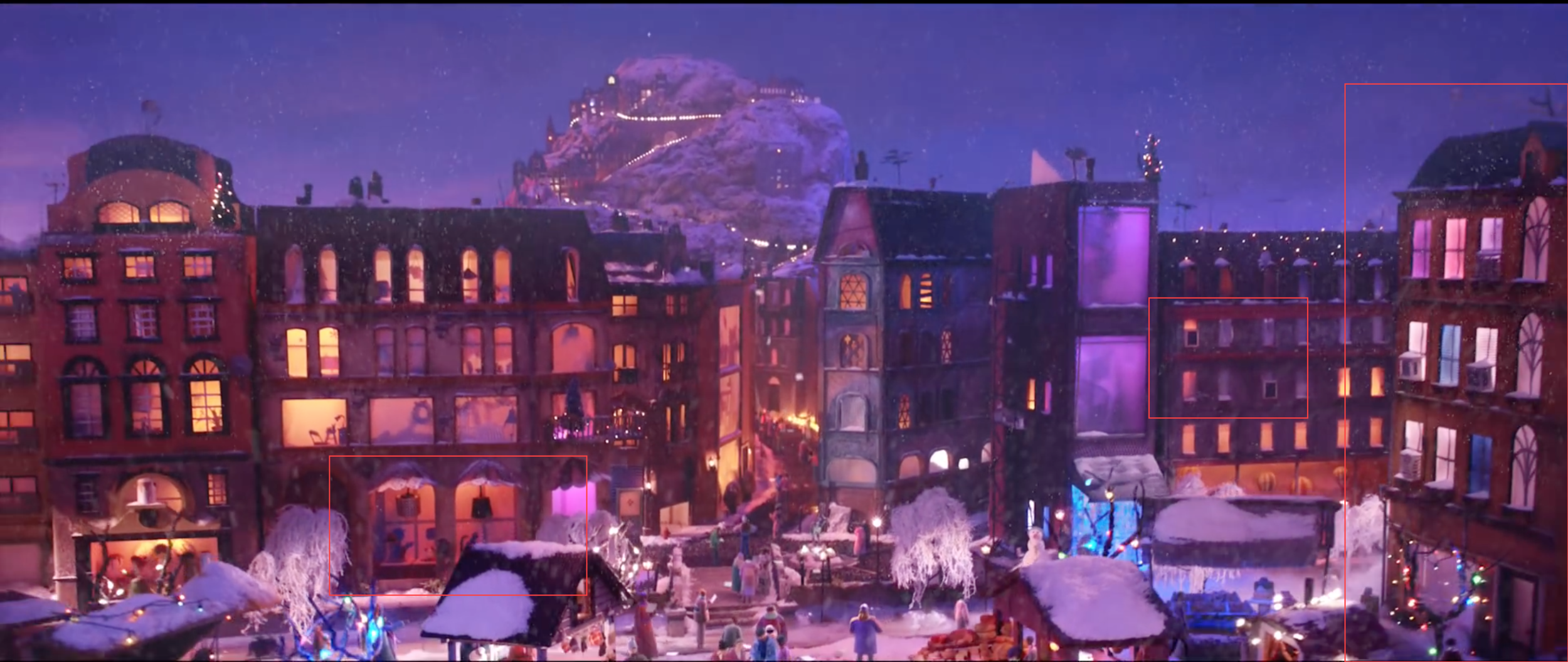 Another view of the big city. I worked on the building to the far right. I also made all the a/c units used in the scene, made cut out silhouettes for the display windows and some of the antennas that were put on top of the buildings.