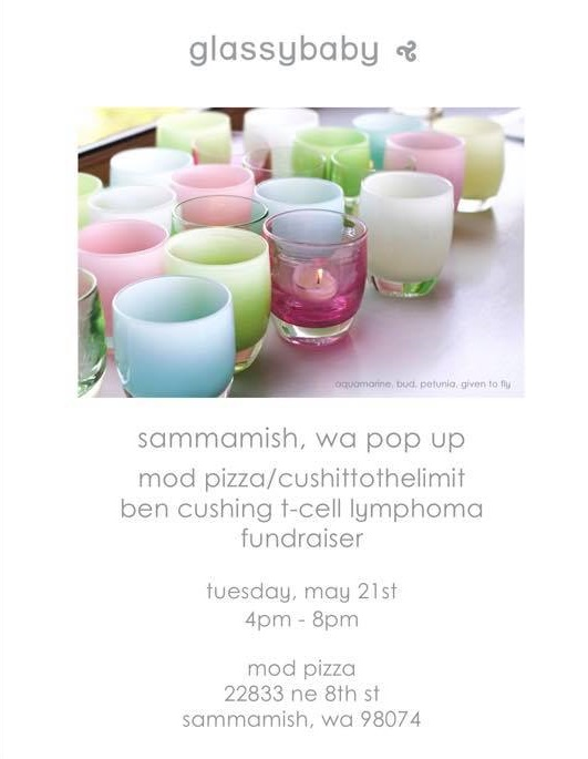 Glassybaby Joins MOD Pizza Event - We are excited to announce a glassybaby pop-up road show at the May 21 MOD Pizza fundraiser. Representatives from Glassybaby will be at MOD Pizza from 4pm-8pm. Ten percent of the baby proceeds will go to CushItToTheLimit! This is a great time to stock up on birthday, graduation, teacher, wedding, and personal gifts and support CushItToTheLimit!