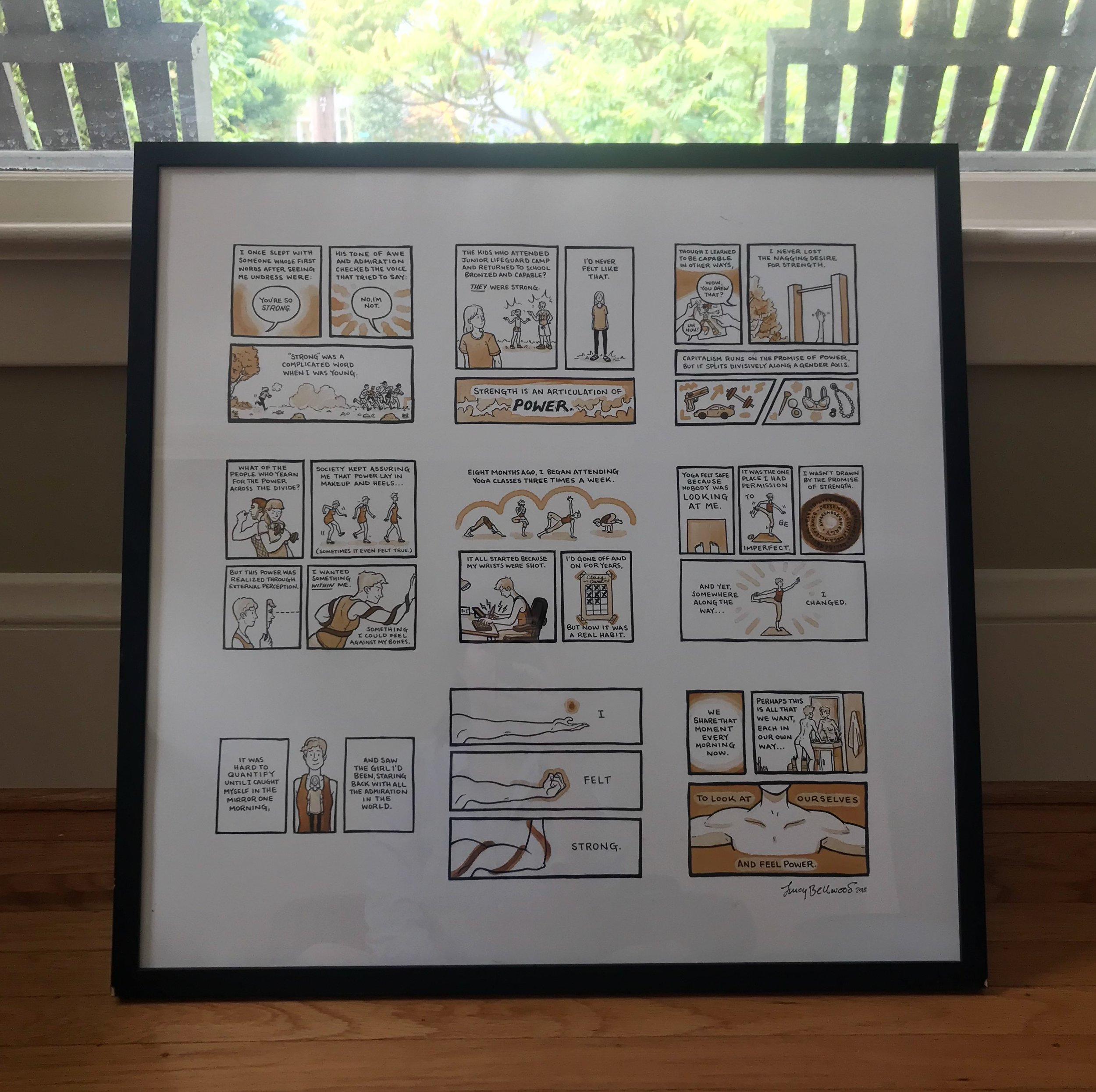 """Framed print of """"To Feel Strong"""" cartoon by Lucy Bellwood"""