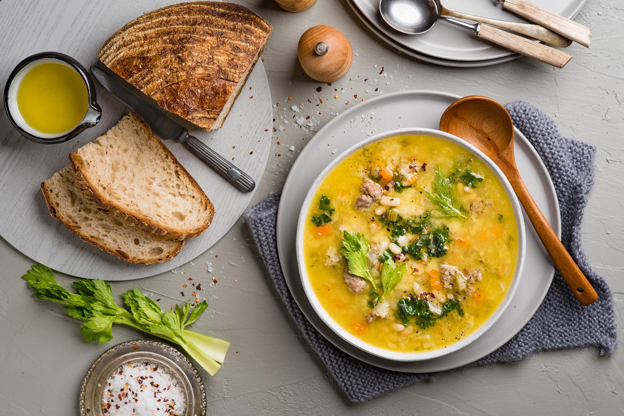 Pork, Fennel and Sourdough Soup