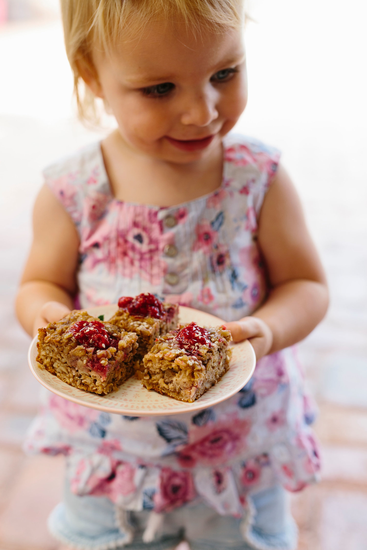 Raspberry and Baked Oat Slice with gorgeous Elsie