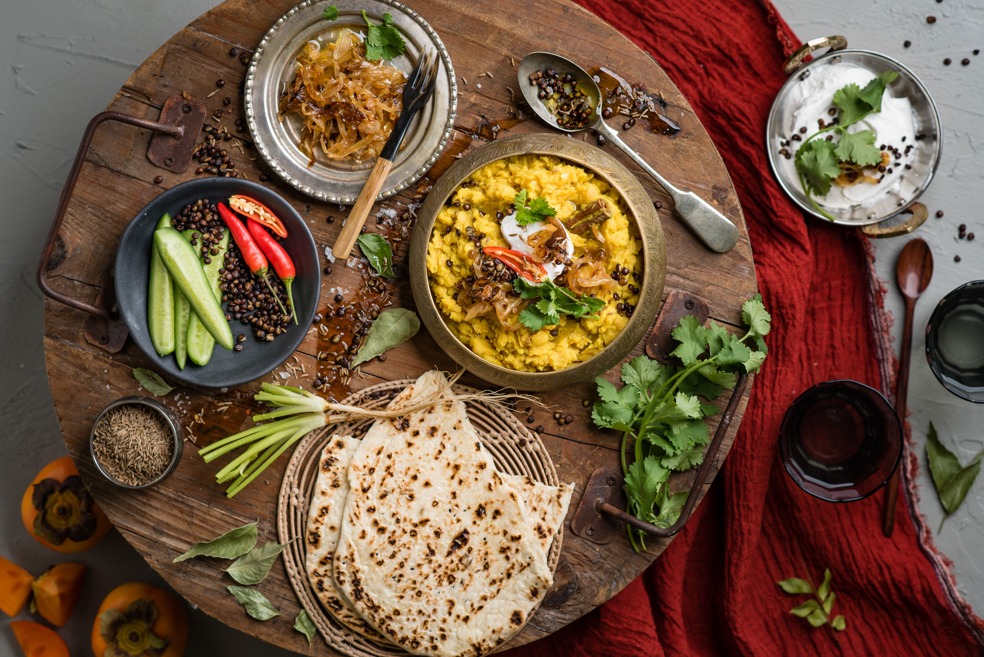 Spiced Dal with all the trimmings  Food Styling by Kate Flower
