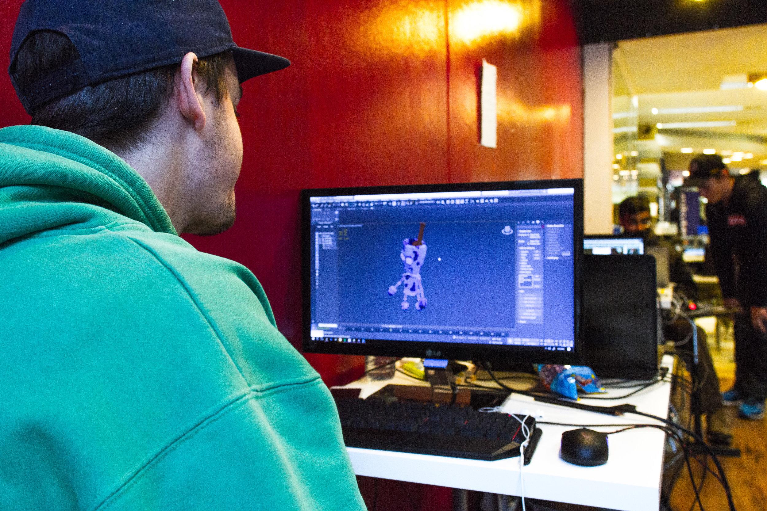 Luke working on  the main character.