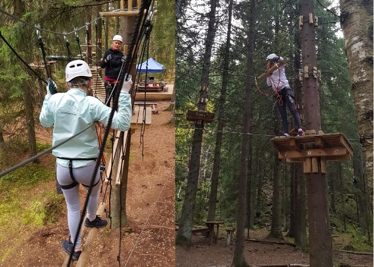 Vi startet festen i Oslo klatrepark. Her fikk mange utfordret både høydeskrekk og egne grenser.