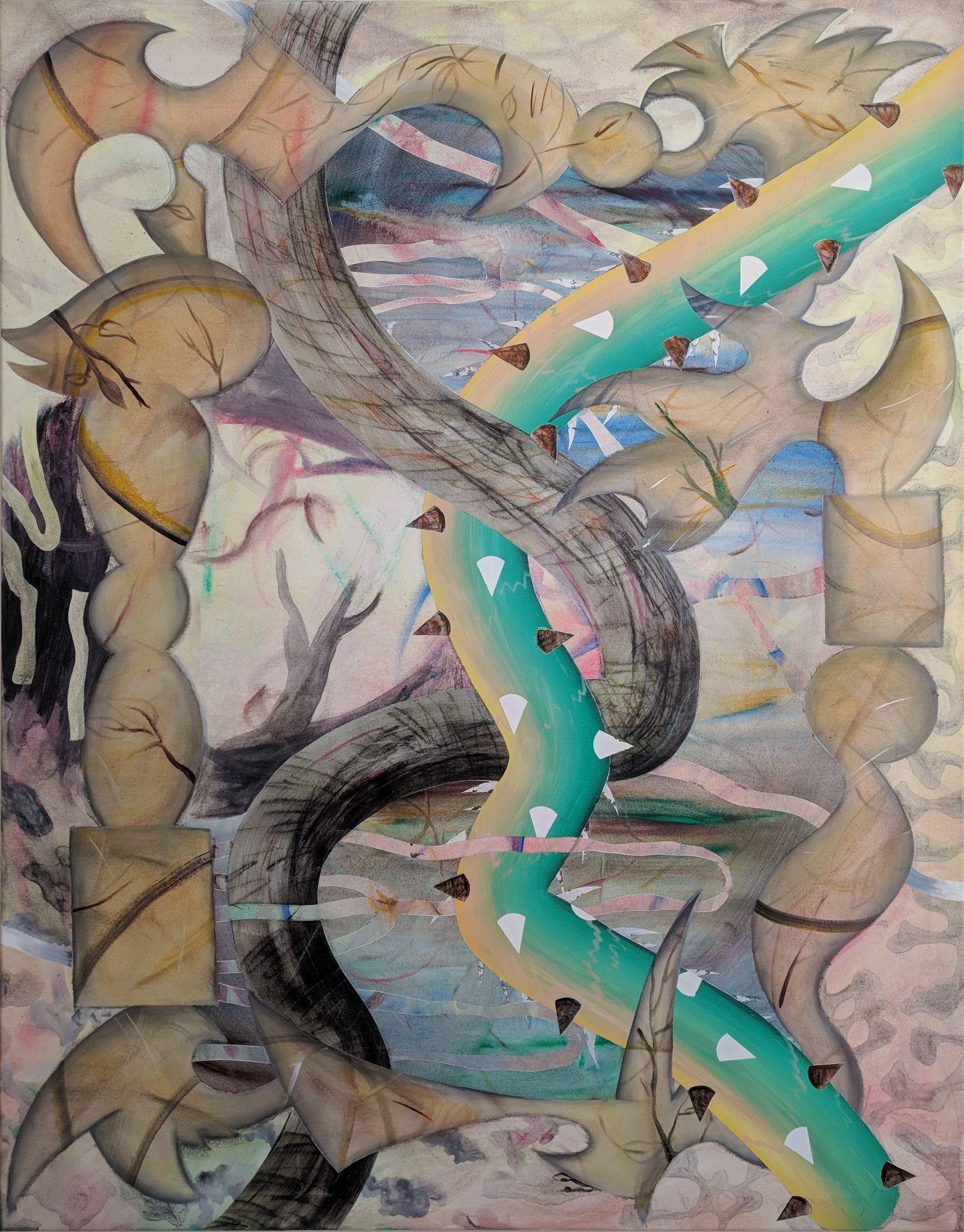 Untitled, 2018, Acryl, Kreide, Öl auf Leinwand,110 x 140 cm.