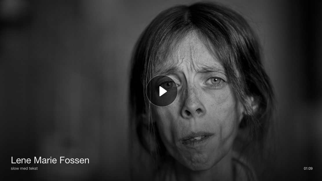 NRK - 15.10.2016  Photography keeps me alive - TØNSBERG / KOLBU (NRK): Lene Marie Fossen (30) stopped eating when she was 10 year old because she did not want to grow up. Now she stages herself and creates stunning self-portraits in an attempt to get well.