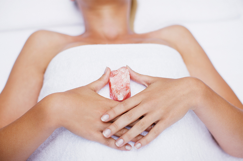 Rose Quartz Crystal being held at Cape Byron Retreat