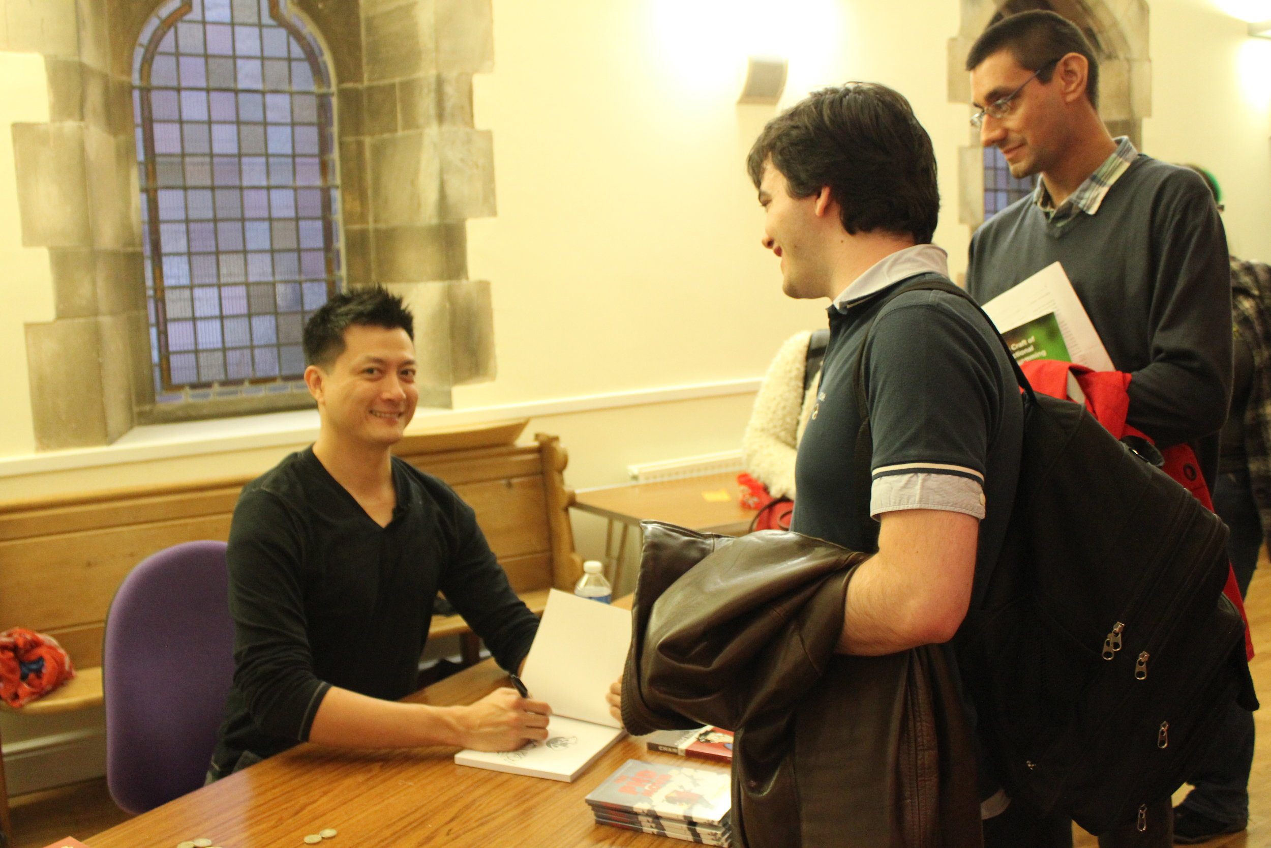 Jorge Cham book signing in the Sir Charles Wilson Building