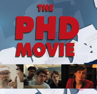 The PhD Movie poster with the title in bold red lettering and three images of researchers beneath