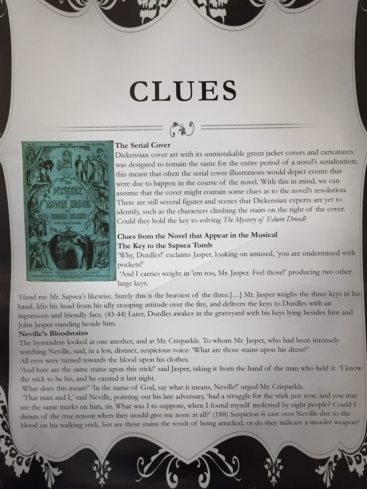 A section from the programme which sets out the clues within the show.