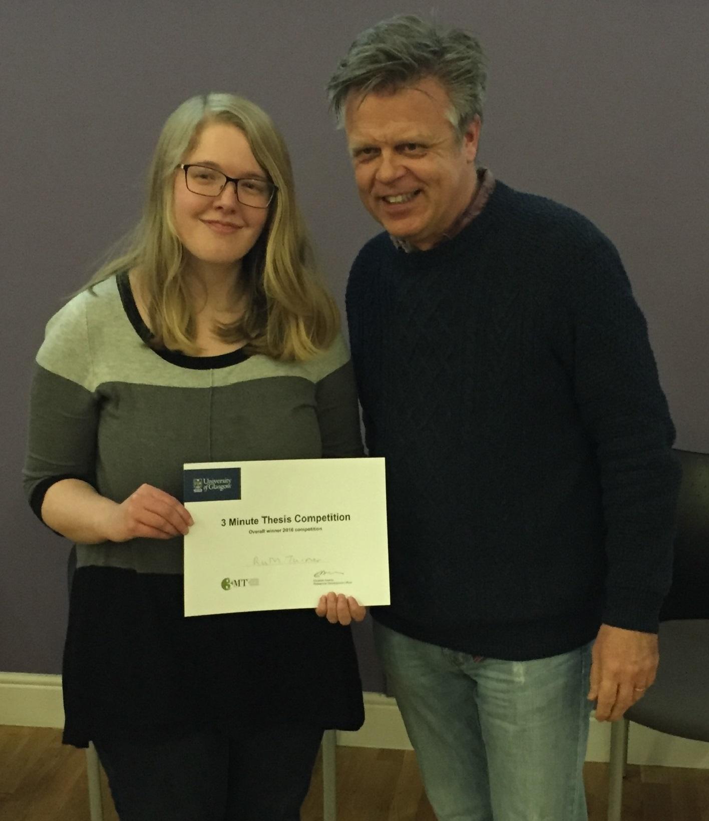 Ruth Turner, Winner of 3MThesis Humanities 2016, receiving her certificate