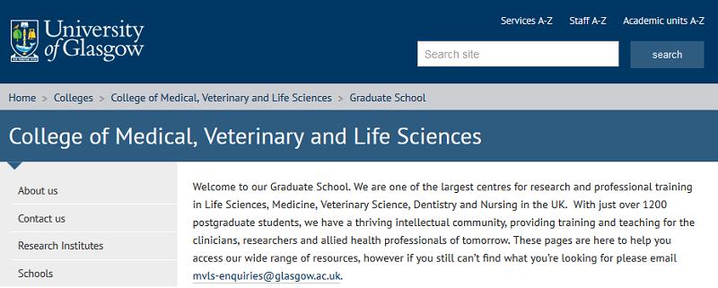 Screenshot from the MVLS Graduate School webpage.
