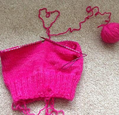 Pink subversive knitwear in progress Image ~ Cia Jackson
