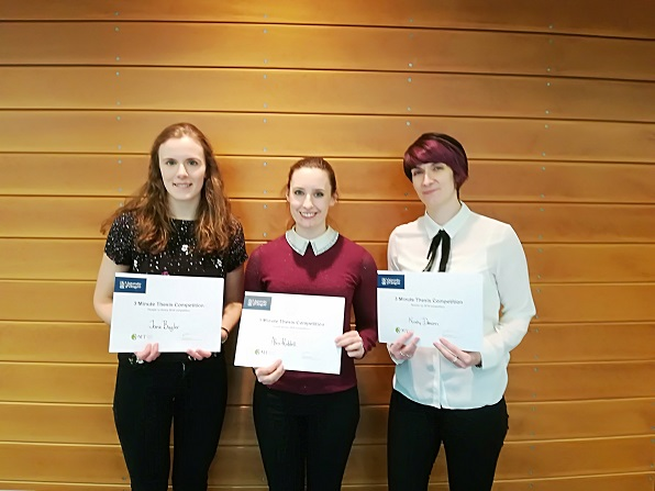 The winners from 3MT! Alex Riddell won, Kirsty Deacon took Runner Up, and Jane Bugler got People's Choice (photo Cia Jackson and 3MT)