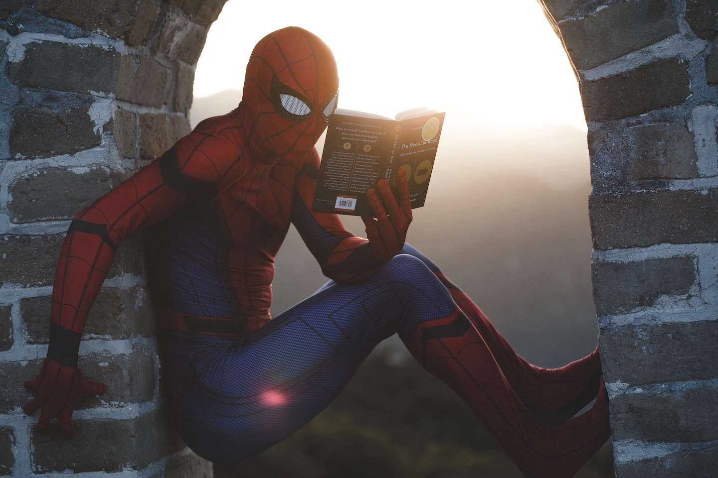Spider-Man, Stan Lee's co-creation, perched against a wall while reading. Photo by  Raj Eiamworakul  on  Unsplash