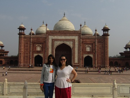 Lydia and friend in front of a mosque.