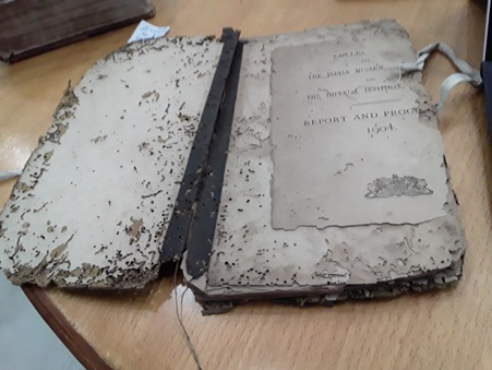 [Image description: An old, worn down book with torn pages from an archive.]