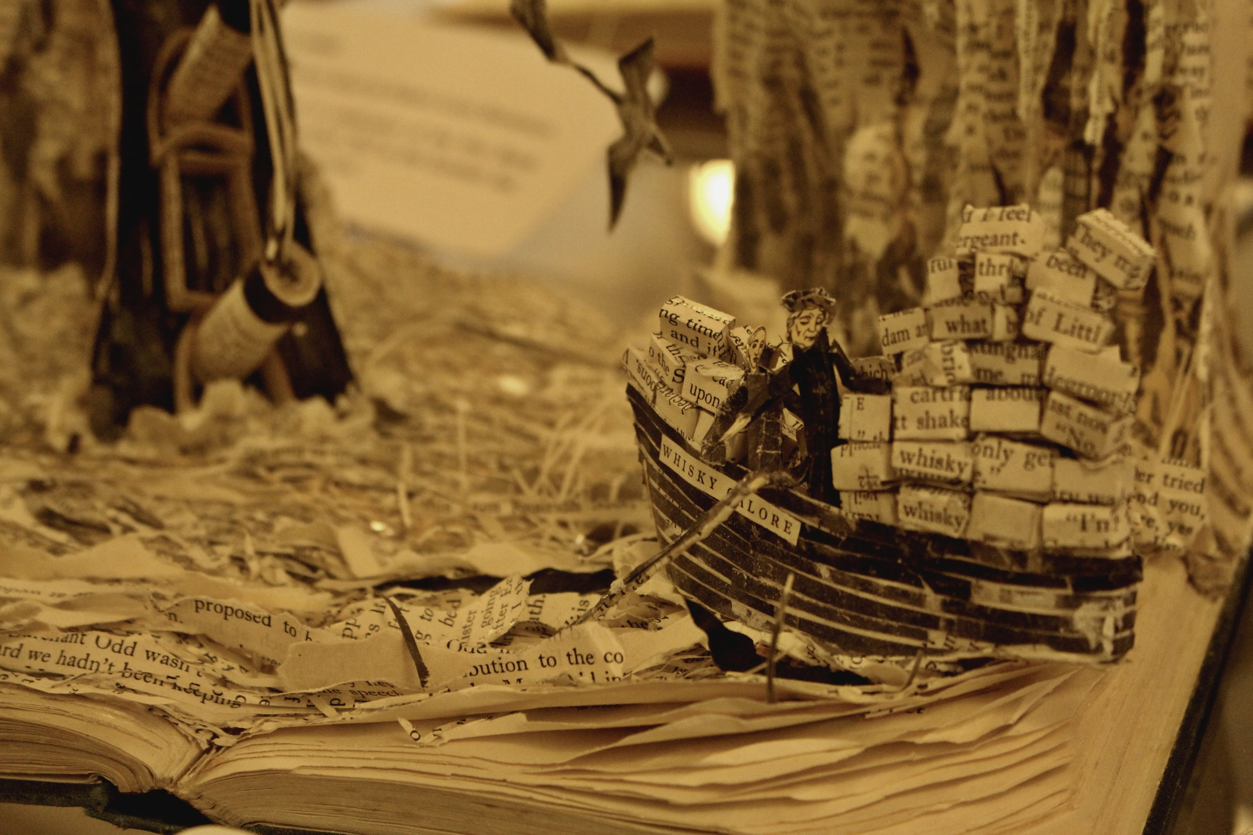 Book art displayed at the public library in Edinburgh.