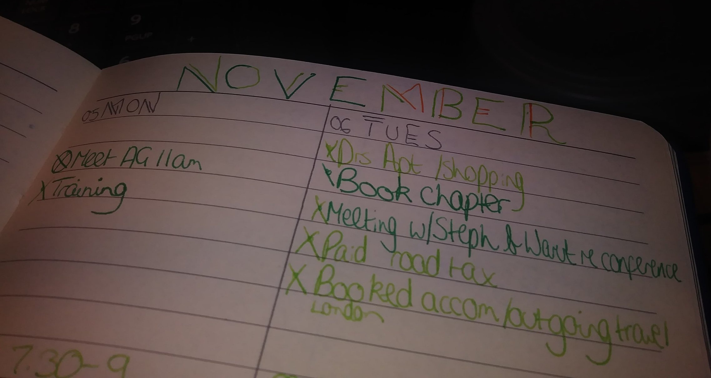 A page showing from a bullet journal showing the tasks from two days in November