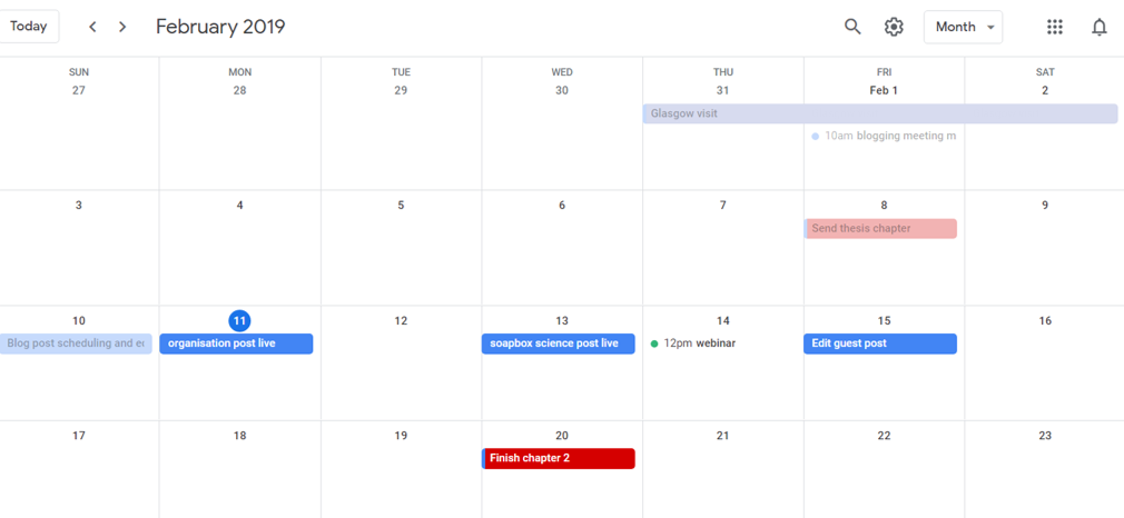 A screen shot of one of my google calendars - this one in particular is meant for big writing deadlines and other writing events.