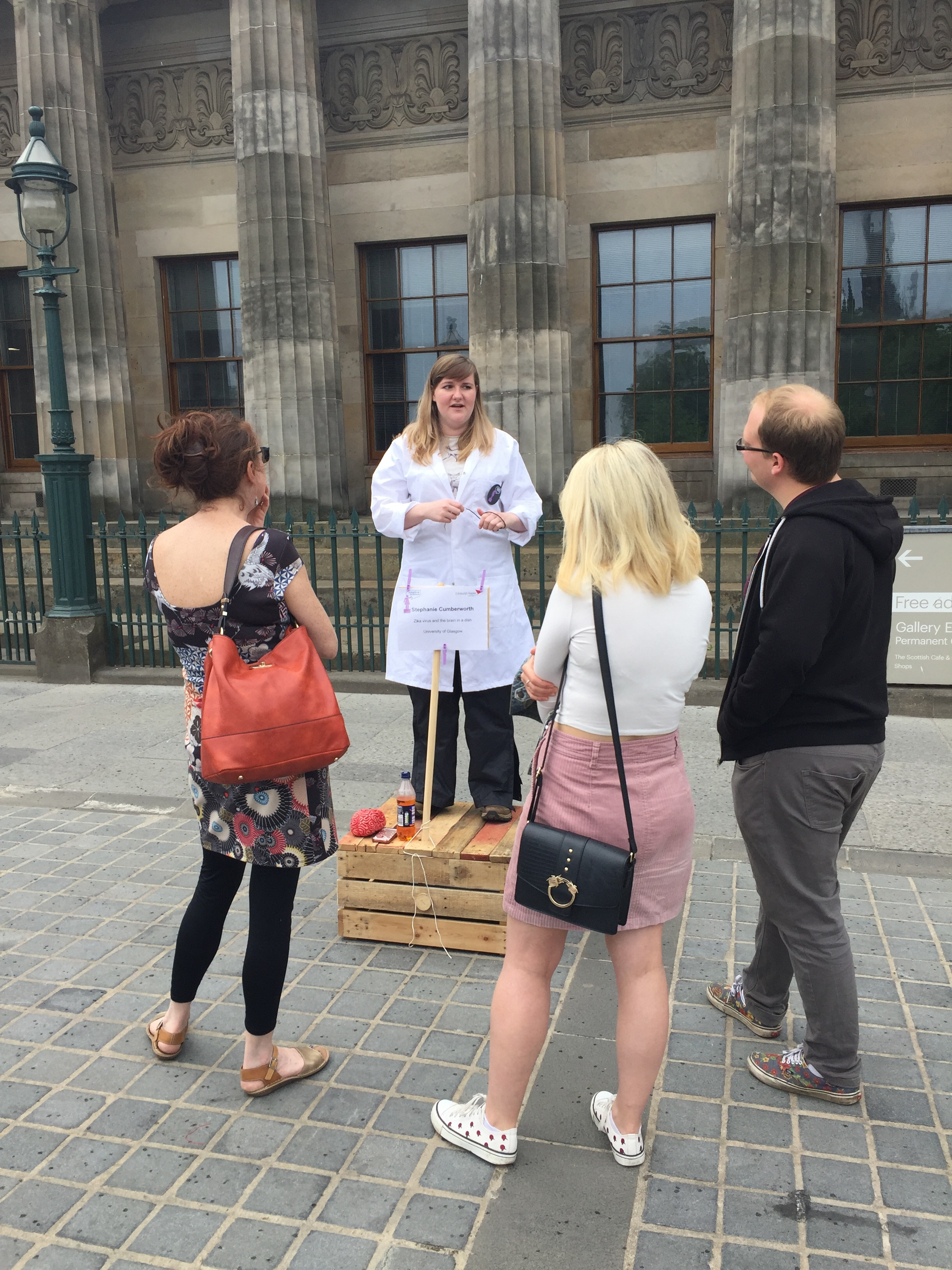Image credit: Dawn Smith  This is me on top of my soapbox at the  Edinburgh Soapbox Science event 2018 . Despite the look on my face in this photo, I was having a blast!
