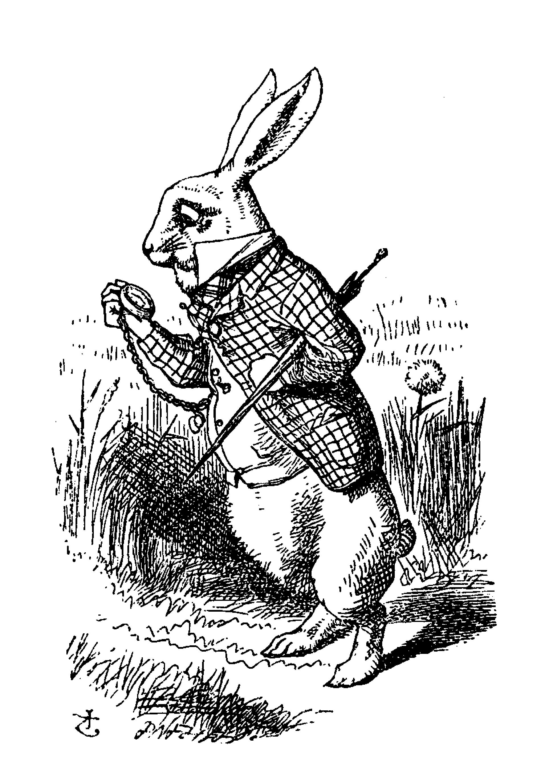 Illustration by John Tenniel. A rabbit stands on two legs, wearing a waistcoat with an umbrella underneath his arm. The rabbit is checking his pocked watch with his other arm.