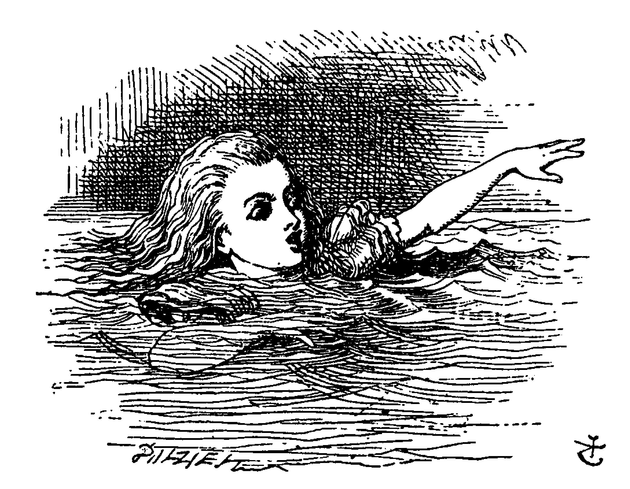 Illustration by John Tenniel from Alice's Adventures in Wonderland. Alice is pictured drowning in a pool of tears with one arm stretched high.