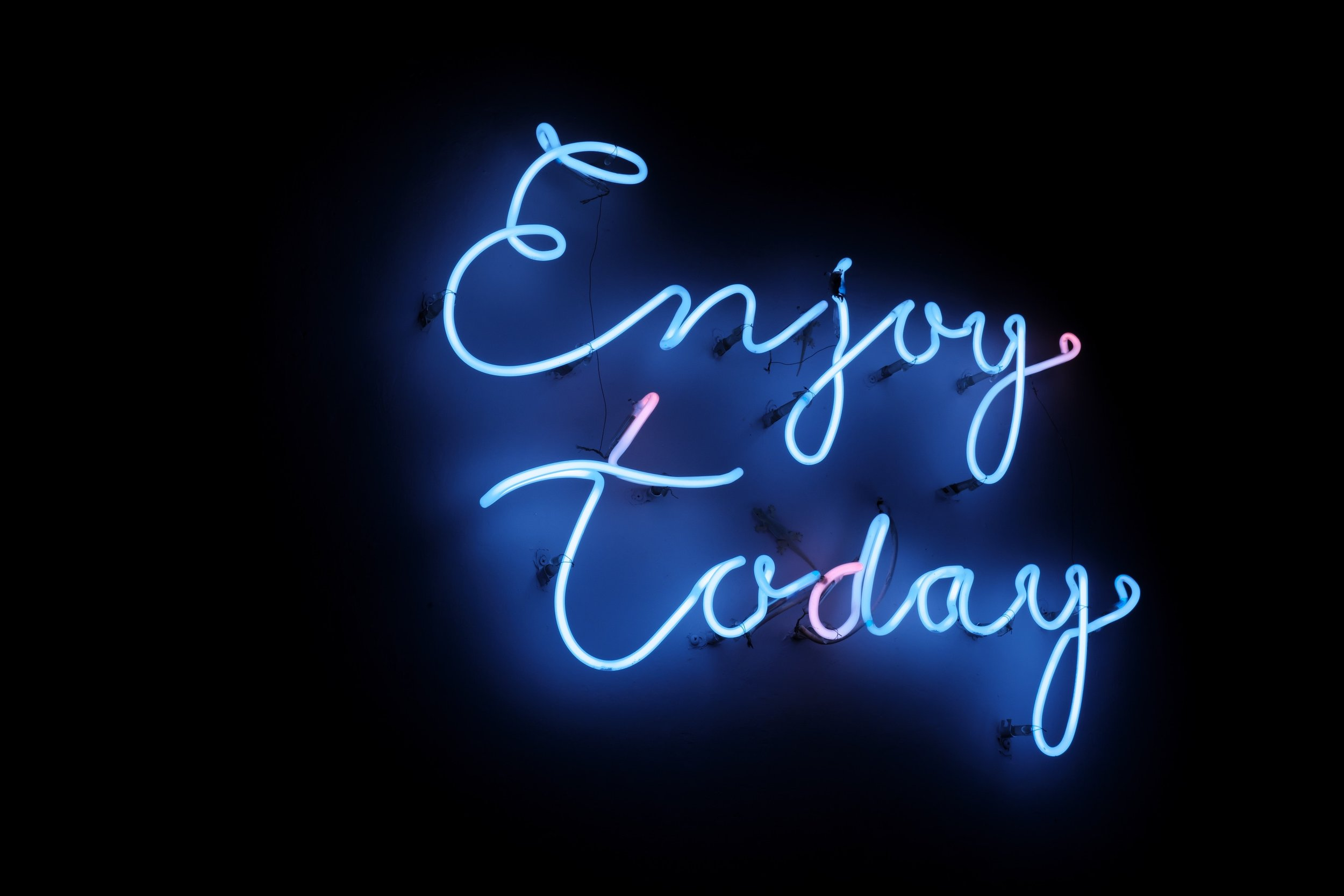 [Image Description: A neon blue sign that says 'Enjoy Today' hangs against a black wall.]