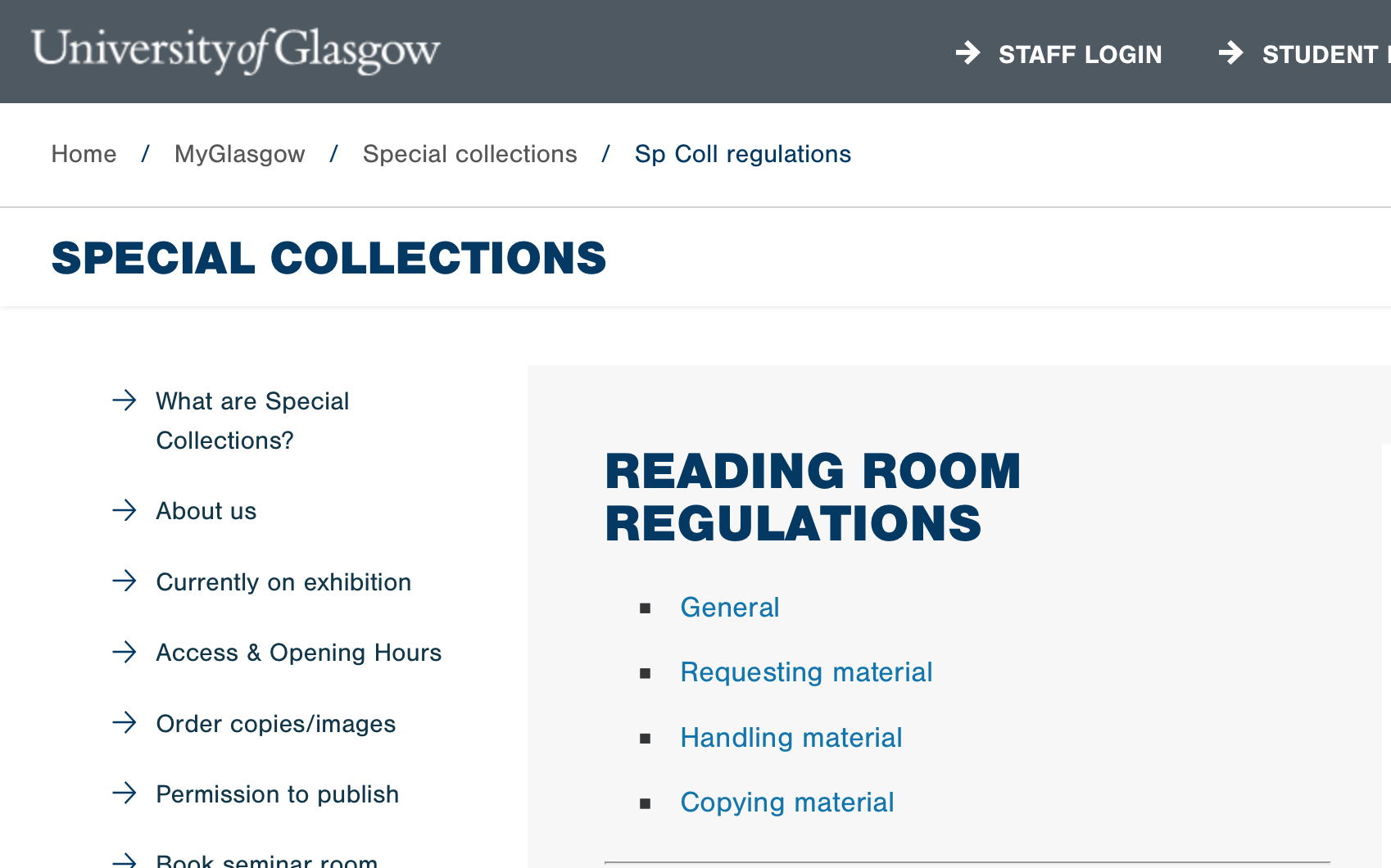 [Image Description: A screenshot of the University of Glasgow Special Collections' Rules and Regulations web page.]