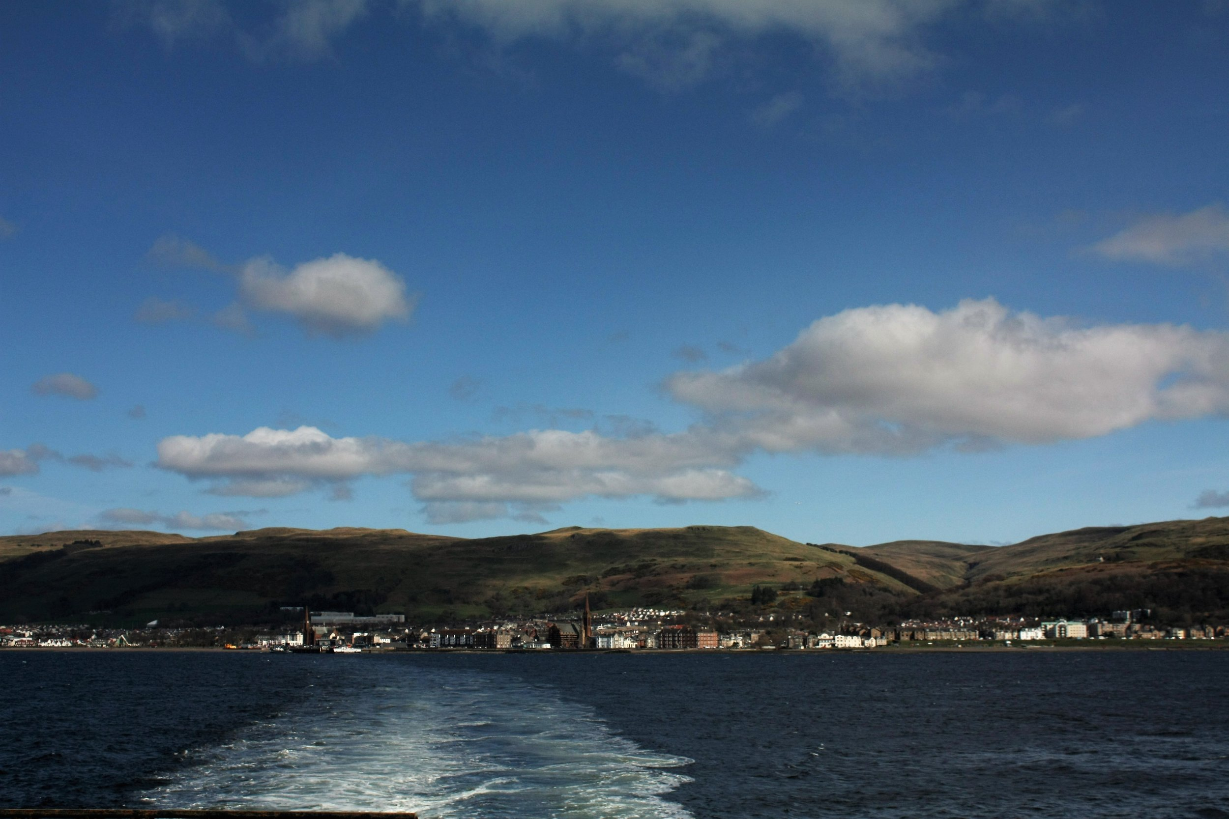 Views of Largs from the ferry to Cumbrae