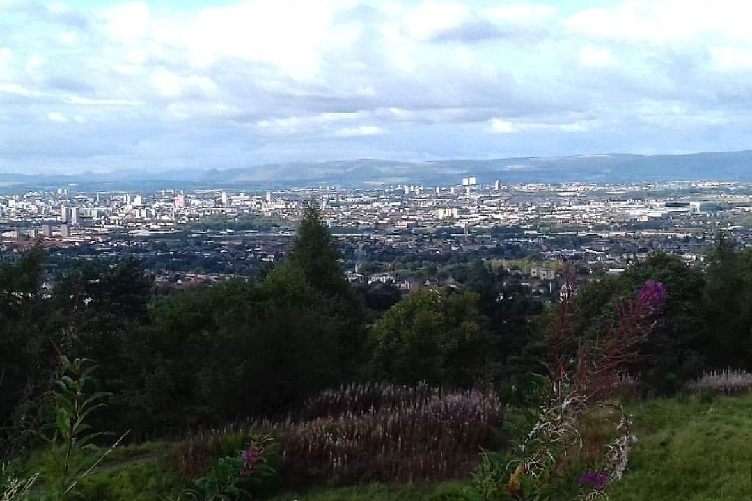 An image overlooking Glasgow from a hill in Rutherglen.