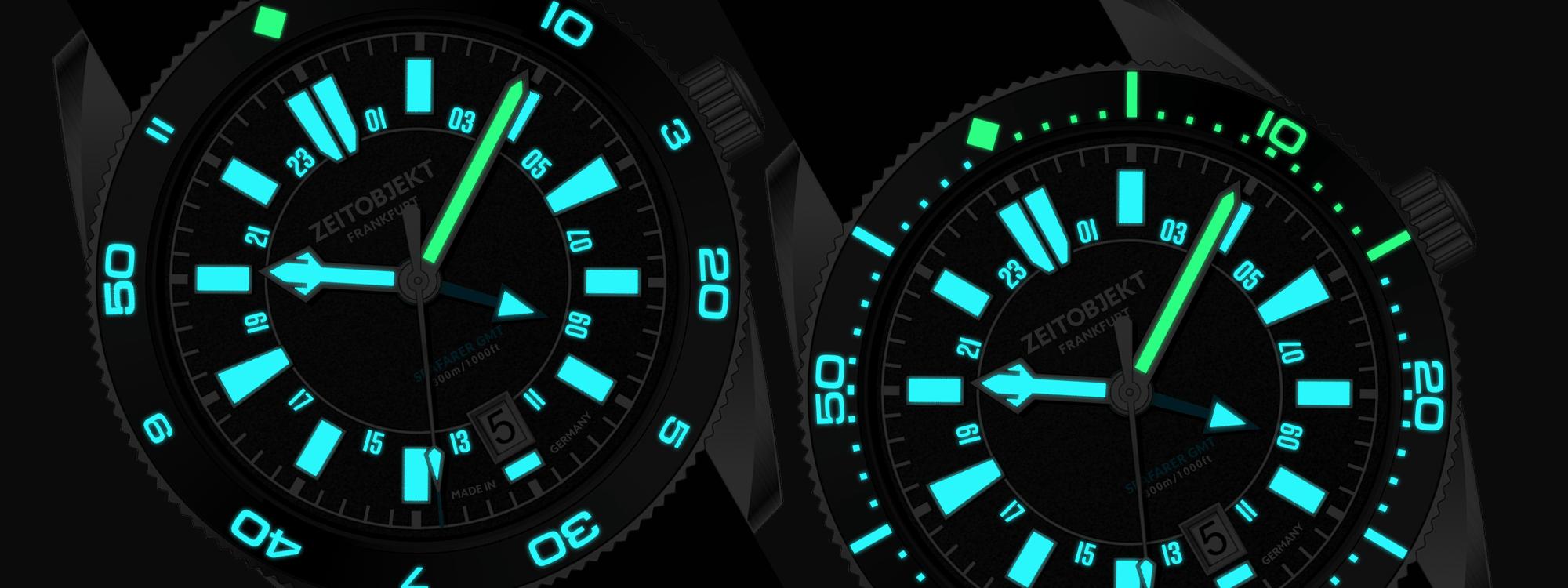Hybrid (left), Pure Diver (right). Bi-color SuperLuminova ®  BGW9 (blue)and C1 (green) for superior readability in the dark.