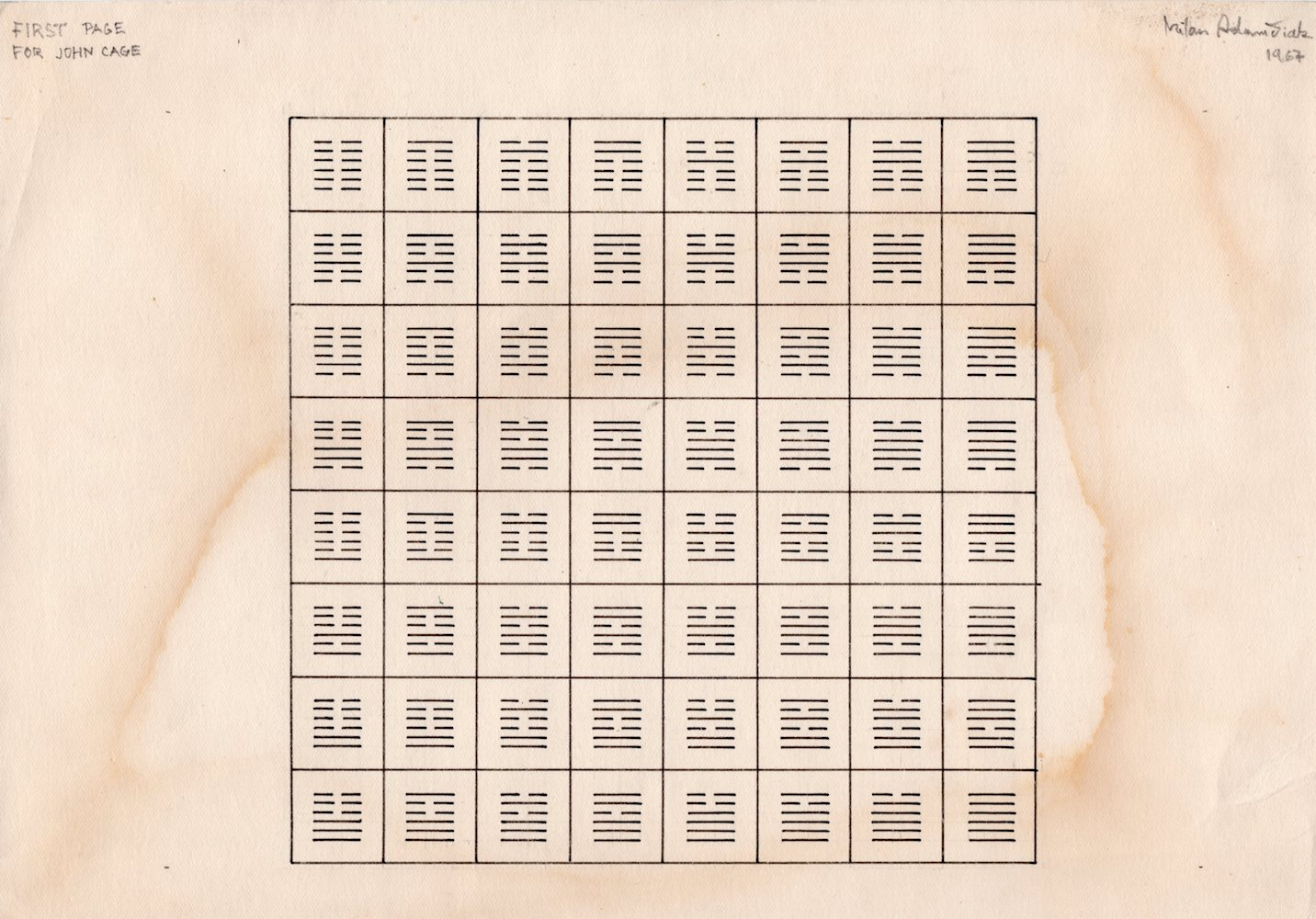 1967, First Page For John Cage, kresba na papieri, 21x29,5 cm