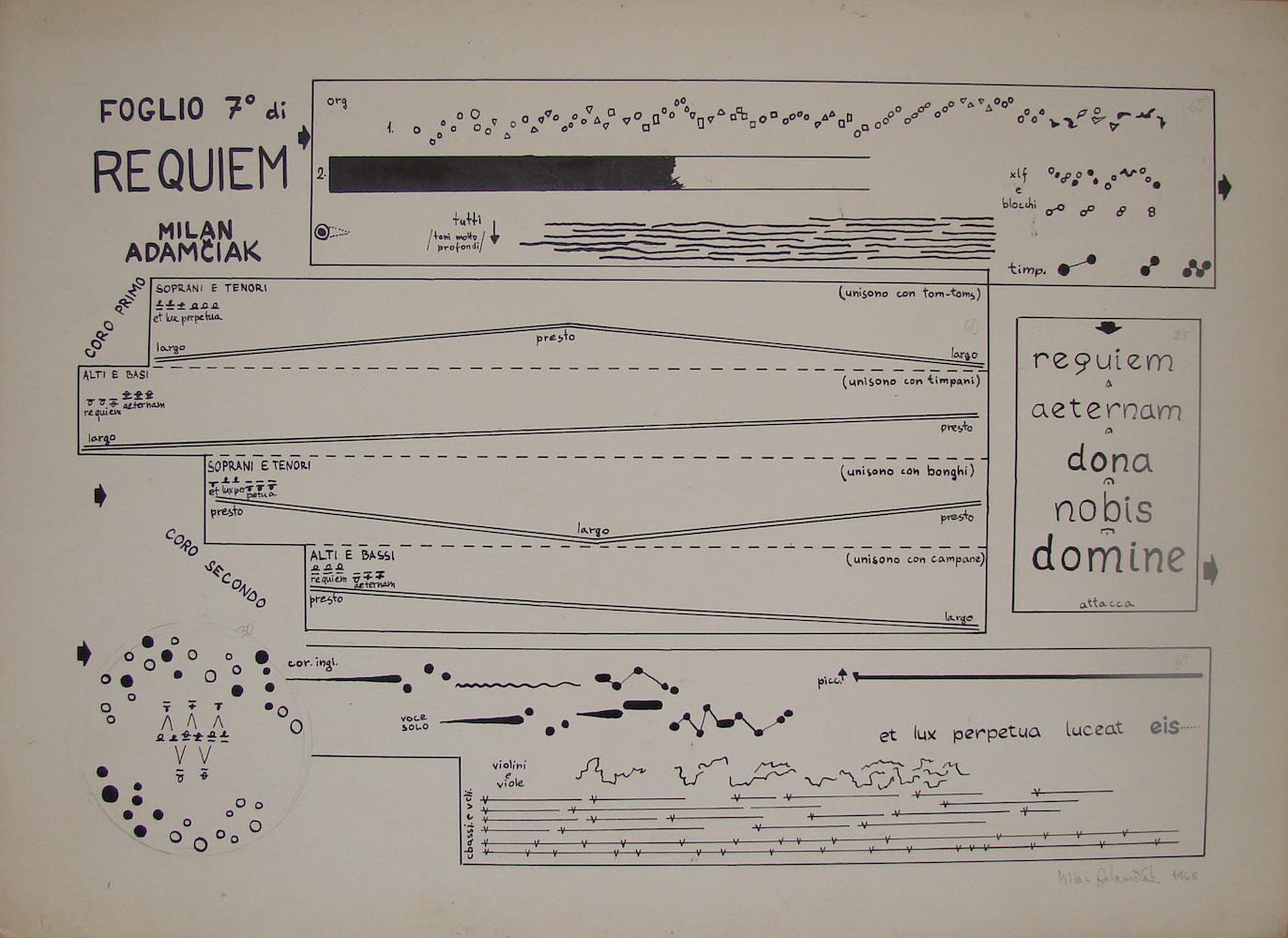 1968, Foglio 7 di Requiem, tuš na papieri, 33x45 cm