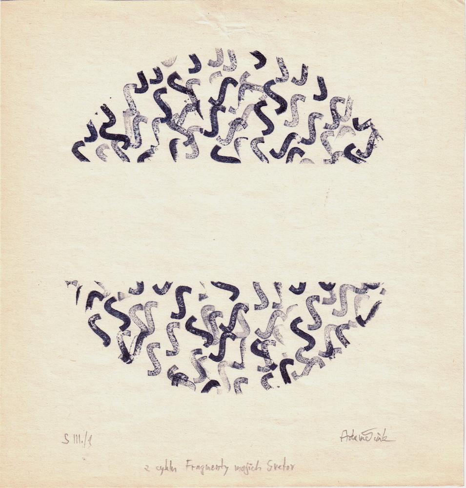 1971, Fragmenty mojich svetov S, pečiatková tlač, 21x20 cm