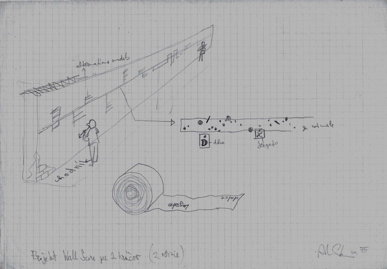 1975 cca, Wall Score, projekt akcie, kresba, 21x29,5 cm