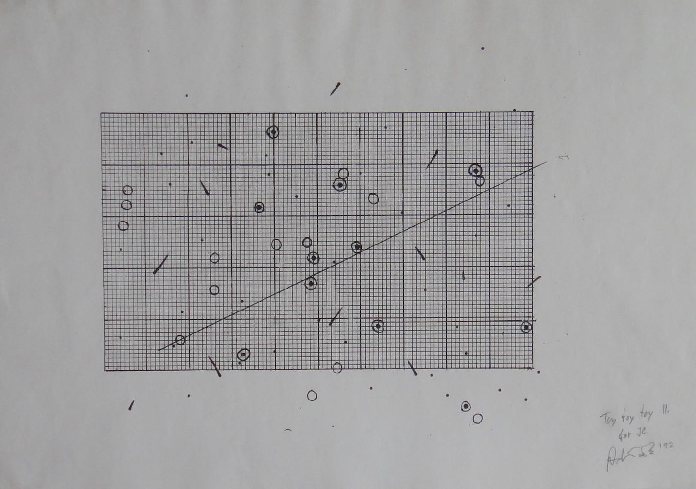 1992, Toy Toy II. for John Cage, kombinovaná tech, 42x29,5 cm