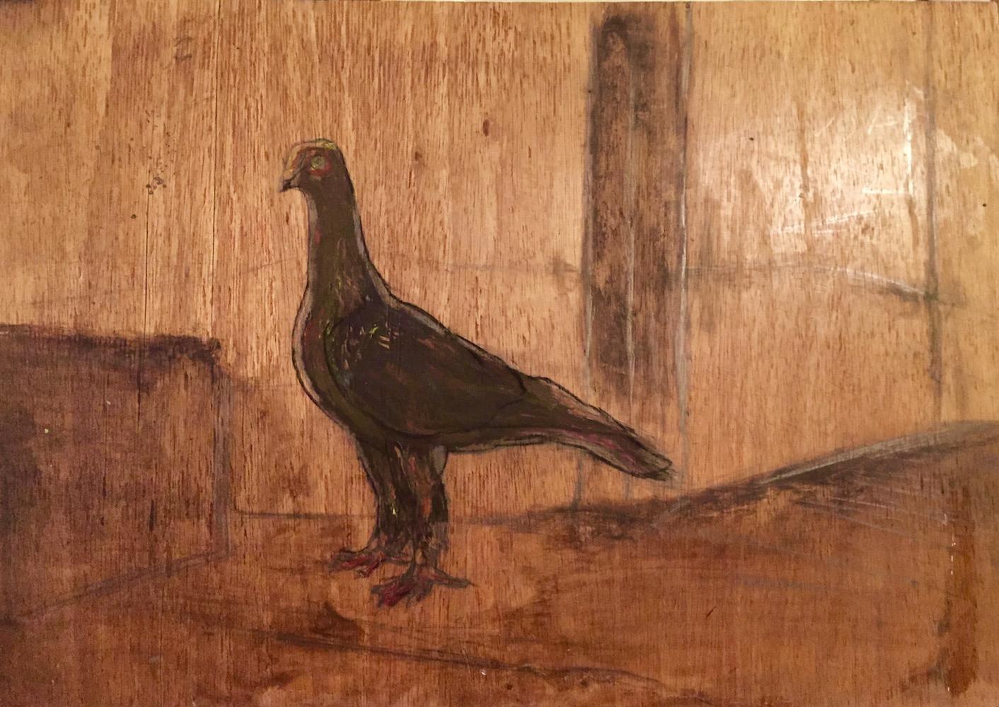 1980-te, Holub, kombinovaná technika na dreve, 48x68 cm