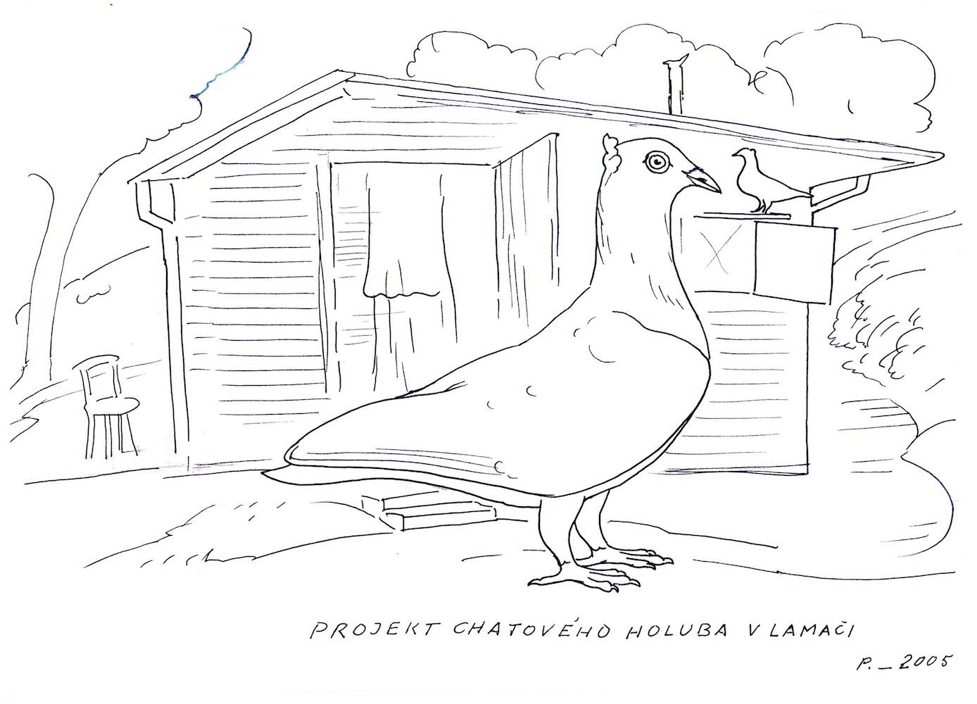 2005, Projekt chatového holuba v Lamači, obojstranná kresba, 29,5x20 cm