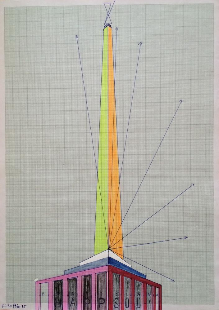 1990 te, Happsoc I, mix media na papieri, 42x29,5 cm