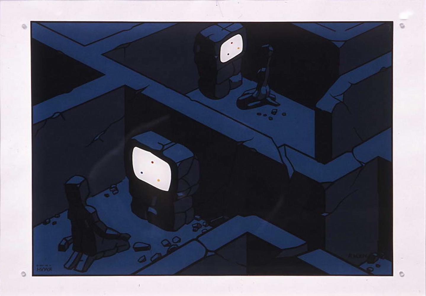 1982 Colour TV, sieťotlač a olej na skle, 50x70x0,5 cm