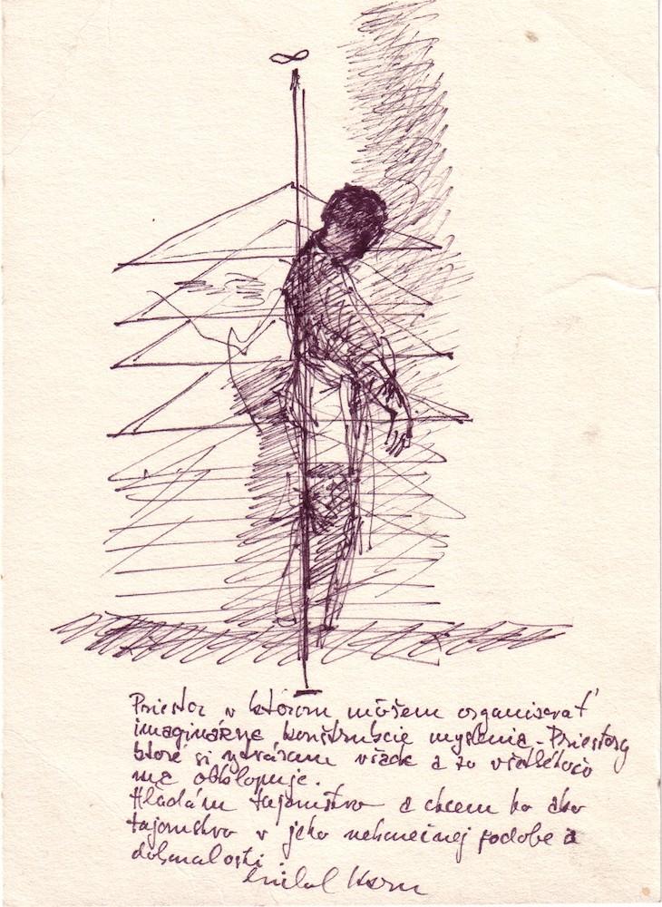 1977, Vymedzenie priestoru, koncept, kresba, 22,3x16 cm
