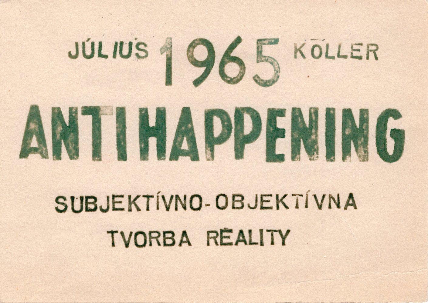 1965, Antihappening, textkarta, 11x16 cm