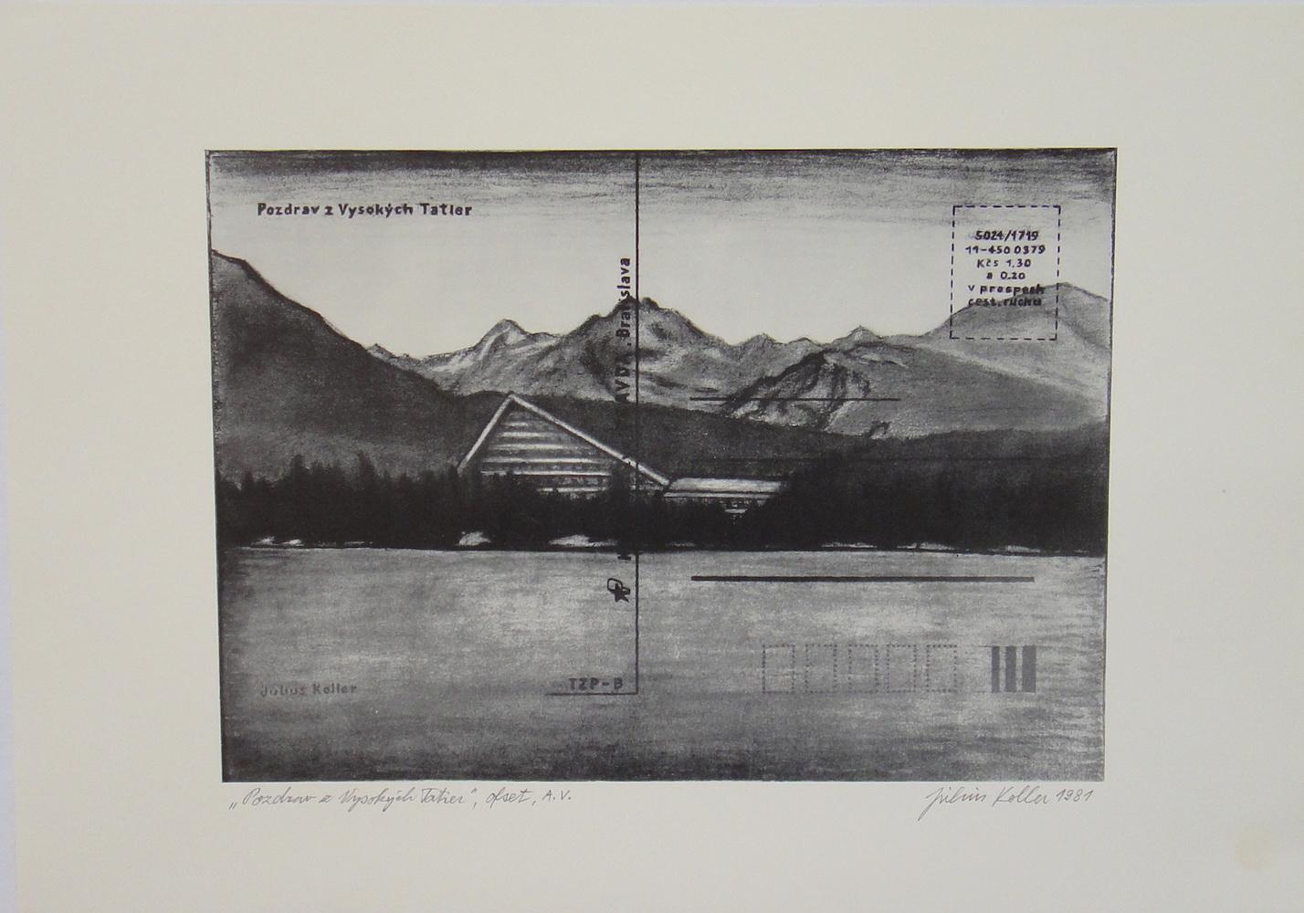 1981, Pozdrav z Vysokých Tatier, ofset, A.V., 49,5x34,5 cm